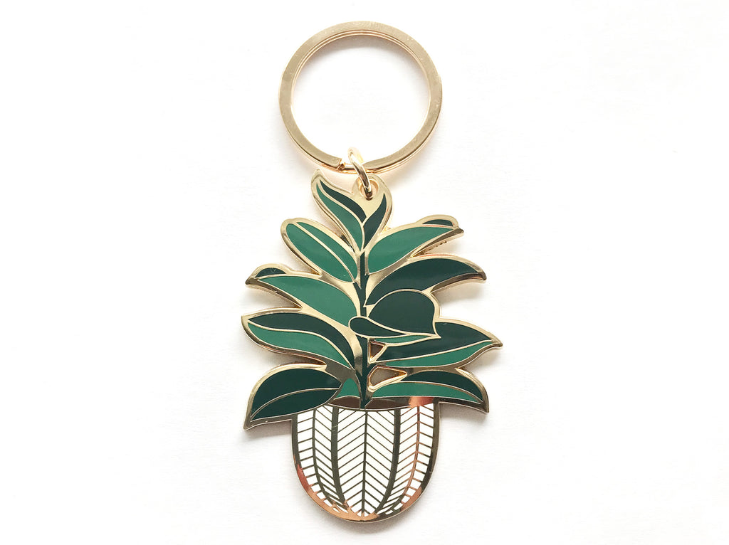 Rubber Tree Enamel Keychain