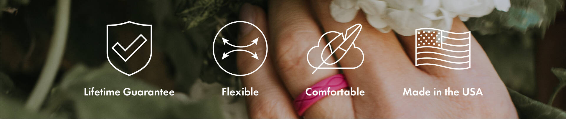 Breast Cancer Awareness Collection | Enso Rings come with a lifetime warranty, guaranteed flexible, comfortabe, and are made in the USA.