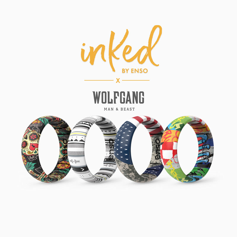 Inked Flexible Rings by Wolfgang: Los Muertos, White Owl, Digital Dog, and Street Art styles