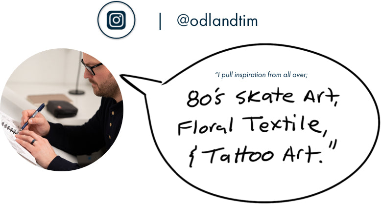 Tim Odland pulls inspiration from all over; 80's skate art, floral textiles, and tattoo art