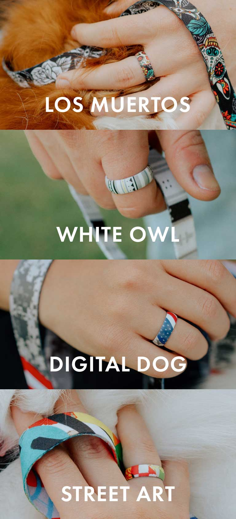 Inked Flexible Rings | Wolfgang | Los Muertos Design | White Owl Design | Digital Dog Design | Street Art Design