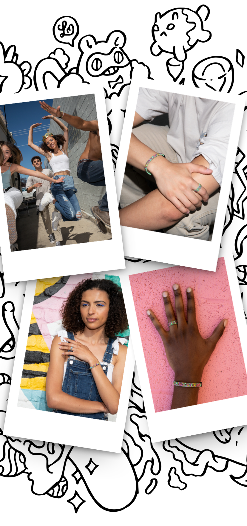 4 polaroids of people at activites wearing enso exclusive rings and bracelets