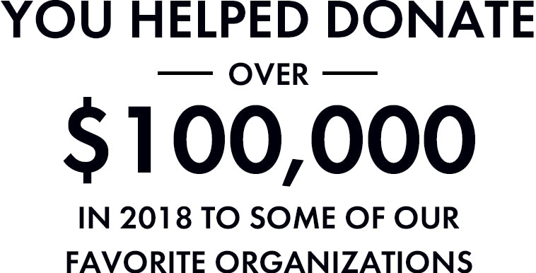 You helped donate over $100,000 in 2018 to some of our favorite organizations!
