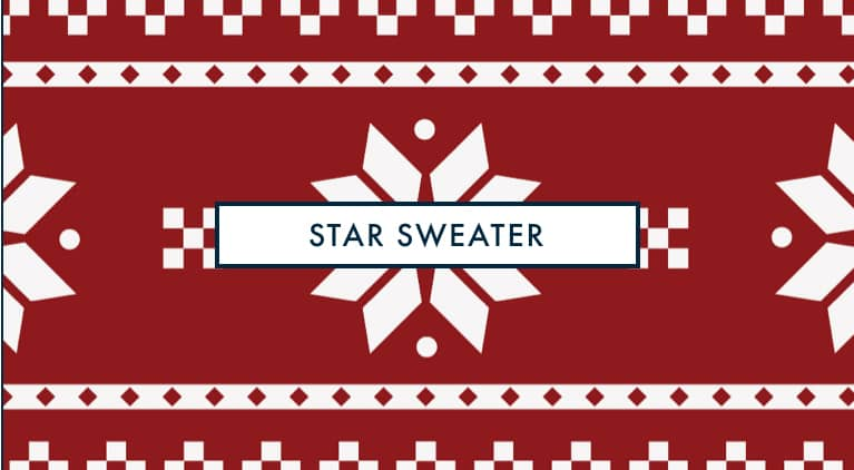 Ugly red sweater pattern, white snowflakes on red background silicone ring