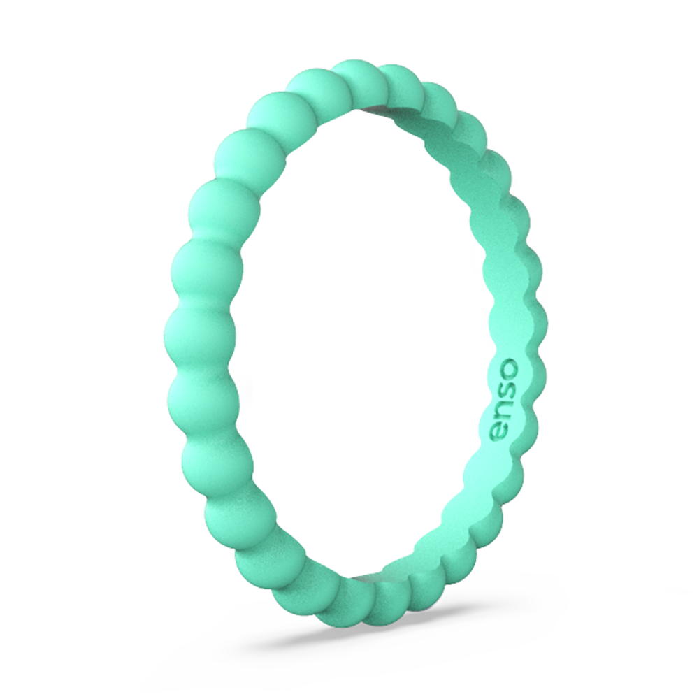 Beaded Stackable Silicone Ring Sea Foam