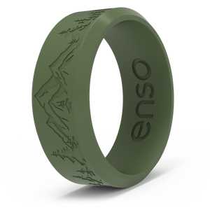 Etched Landscape - Classic Silicone Ring - Bevel Pine - Peak