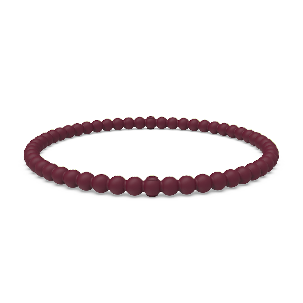 Beaded Stackable Silicone Bracelet - Oxblood