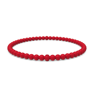 Beaded Stackable Silicone Bracelet - Red