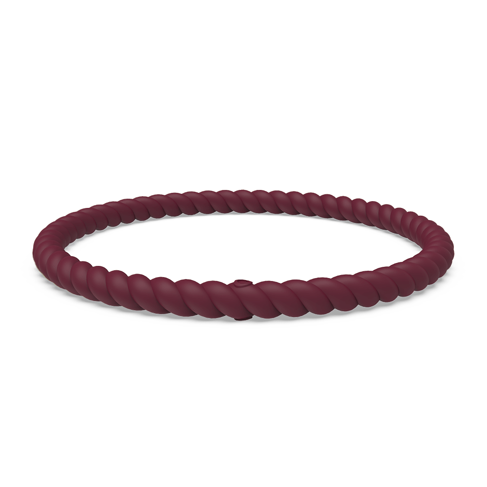 Braided Stackable Silicone Bracelet - Oxblood