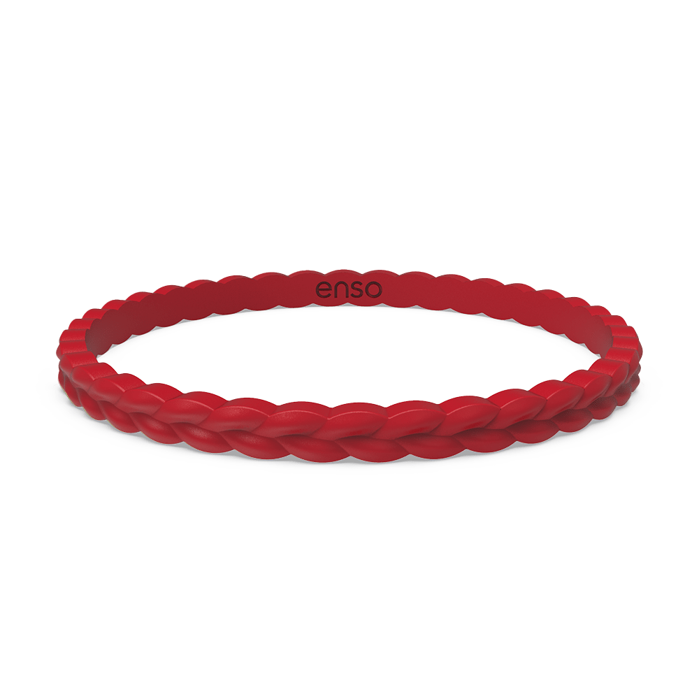 Weave Stackable Silicone Bracelet - Red