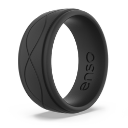 Men's Infinity Silicone Ring Obsidian