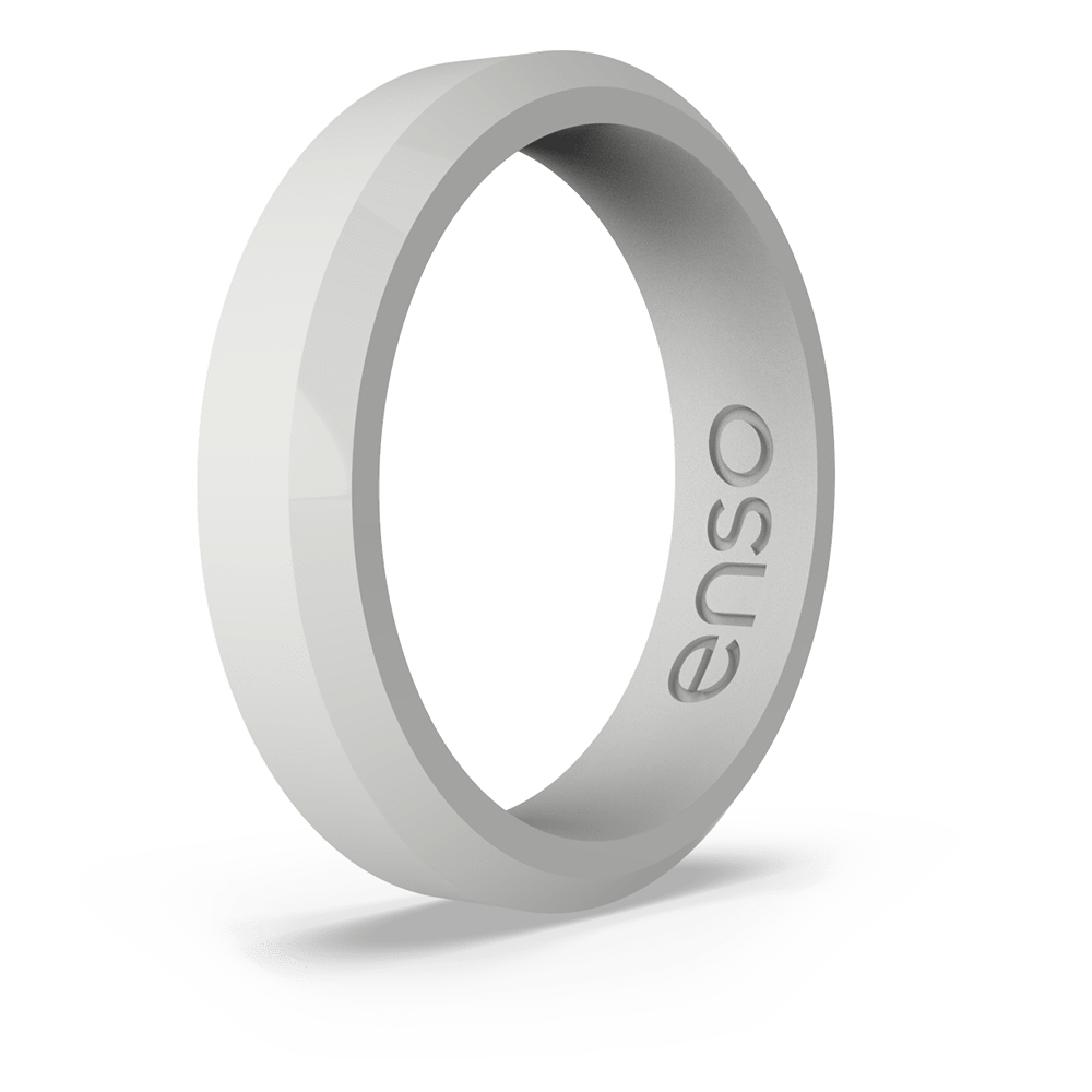 Bevel Thin Silicone Ring Misty Grey