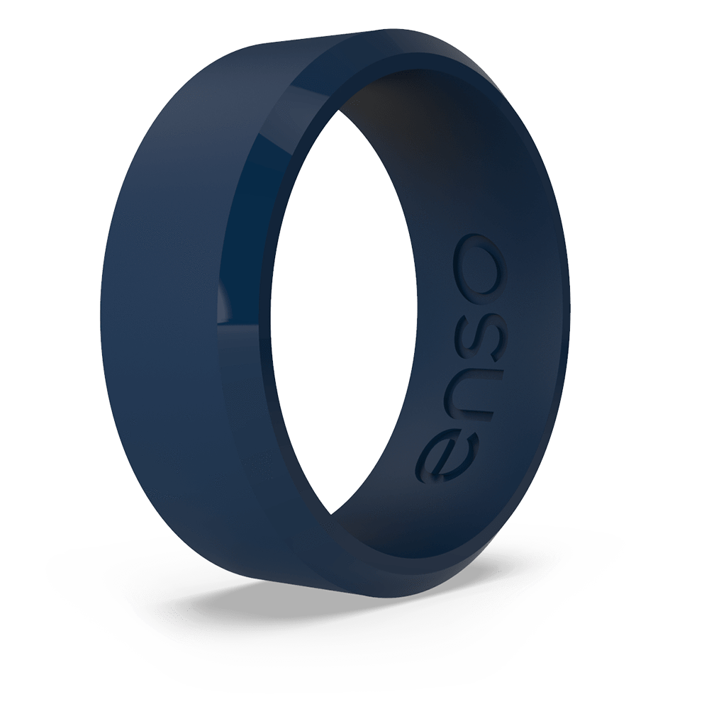 Bevel Silicone Ring Navy Blue