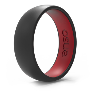 Dual Tone Silicone Ring Obsidian / Red