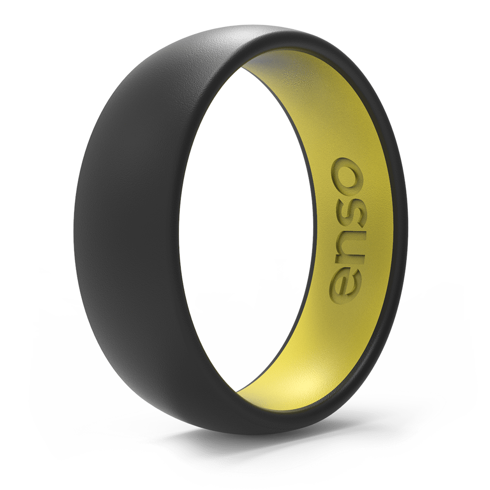 Dual Tone Silicone Ring Obsidian / Blazing Yellow