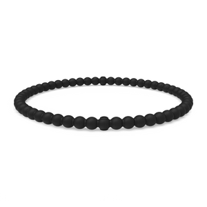 Beaded Stackable Silicone Bracelet - Obsidian