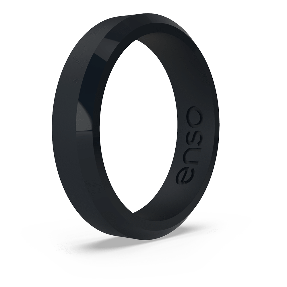 Bevel Thin Silicone Ring Obsidian