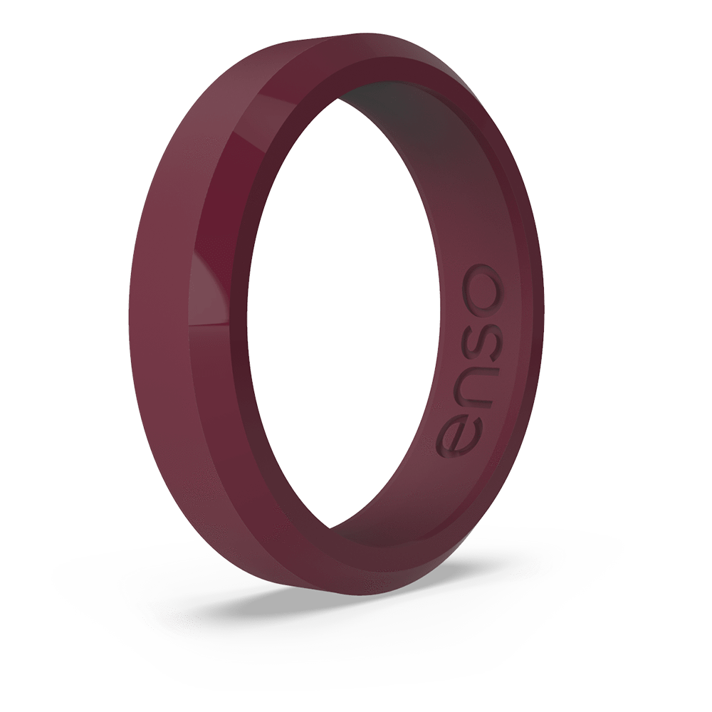 Bevel Thin Silicone Ring Oxblood