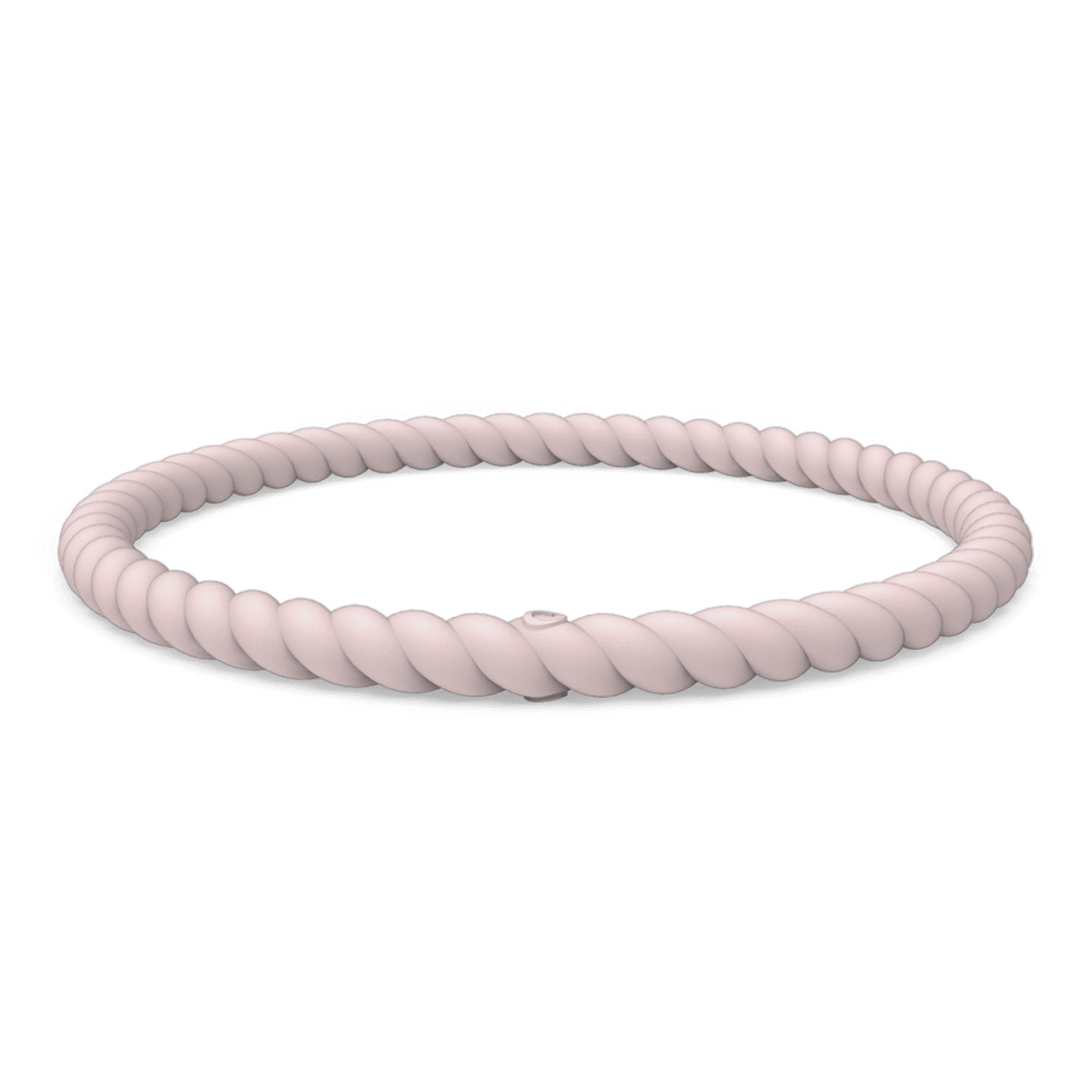 Braided Stackable Silicone Bracelet - Pink Sand