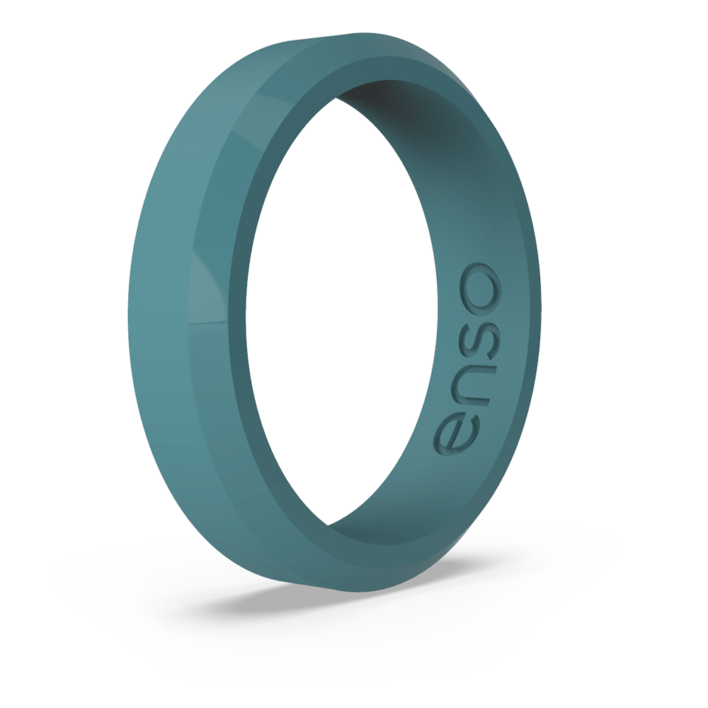 Bevel Thin Silicone Ring Teal