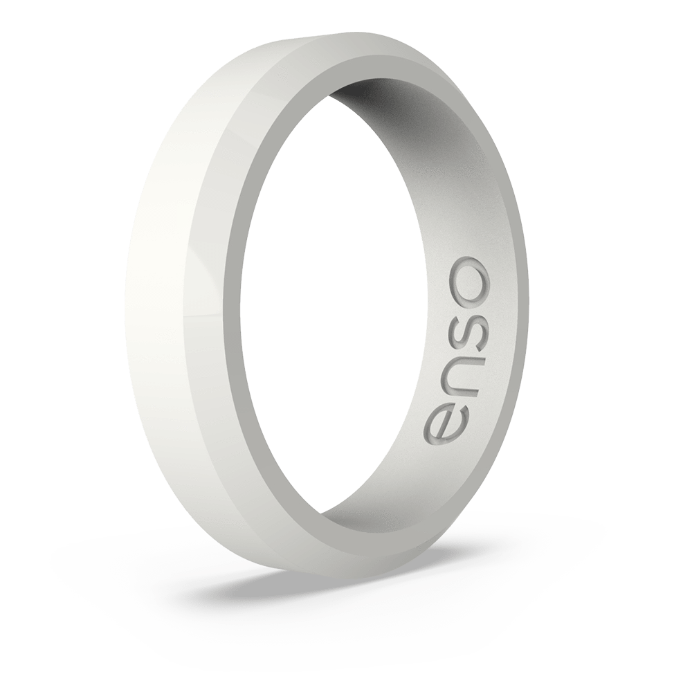 Bevel Thin Silicone Ring White