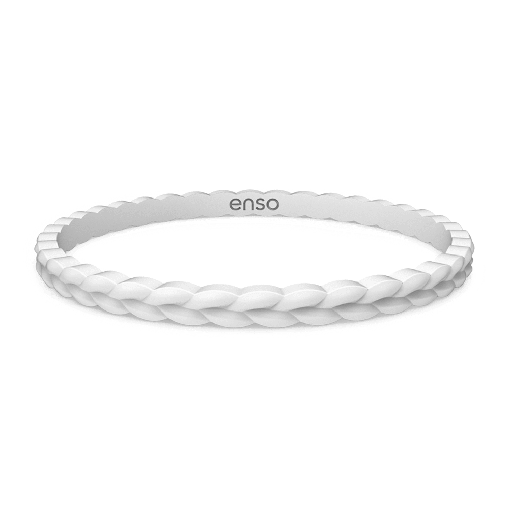 Weave Stackable Silicone Bracelet - White