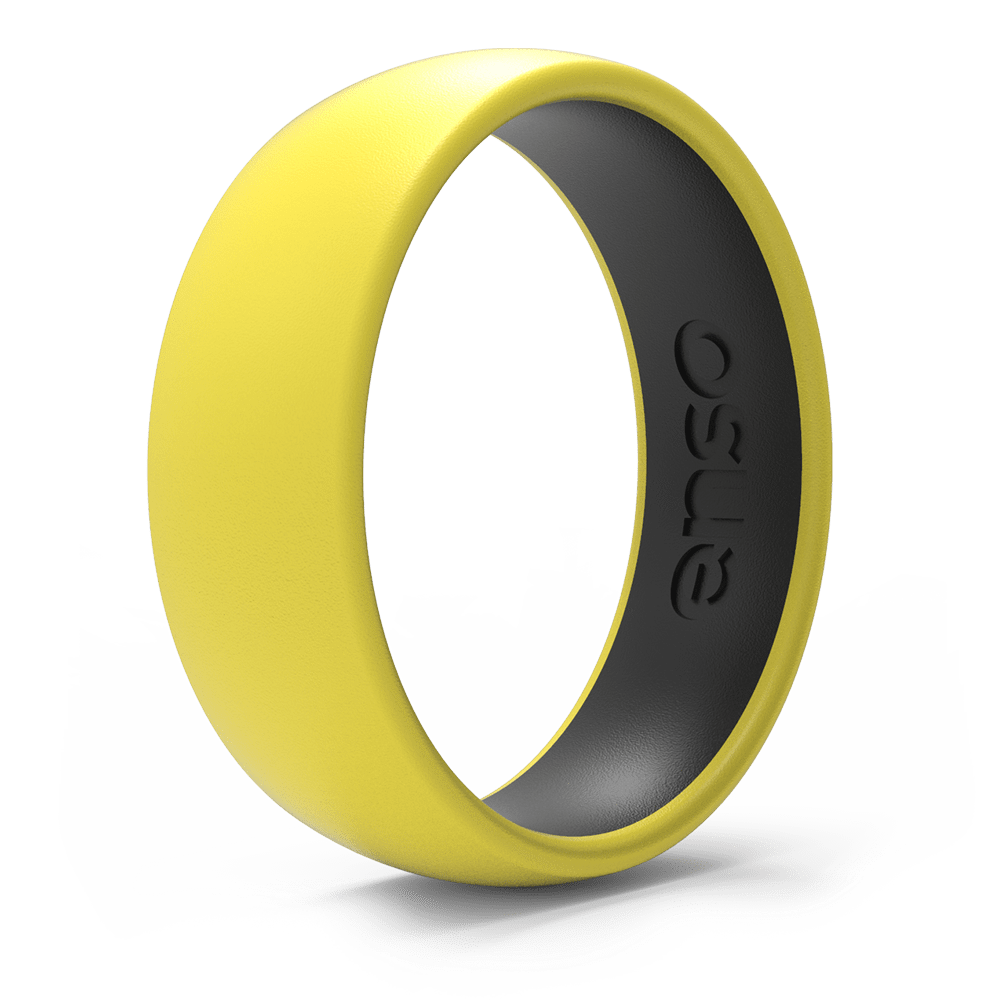 Dual Tone Silicone Ring Blazing Yellow / Obsidian