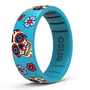Calavera Silicone Ring Sugar Skull Light Blue