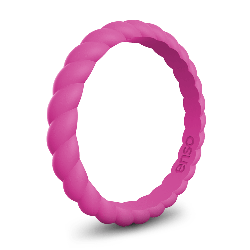 Braided Stackable Silicone Ring Fuschia
