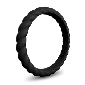 Braided Stackable Silicone Ring Obsidian