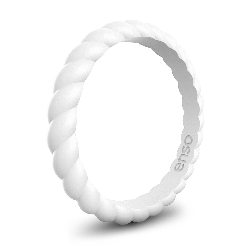 Braided Stackable Silicone Ring White