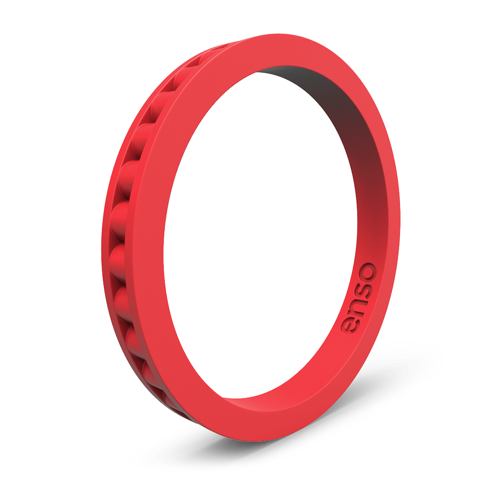 Column Stackable Silicone Ring Red