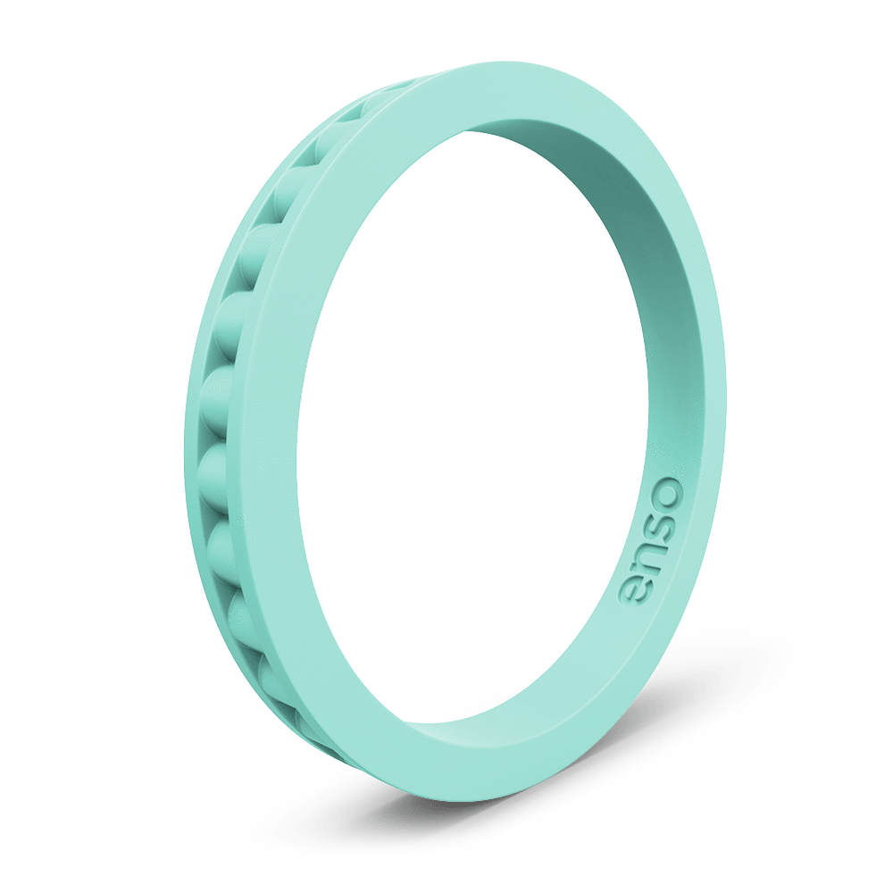 Column Stackable Silicone Ring Turquoise