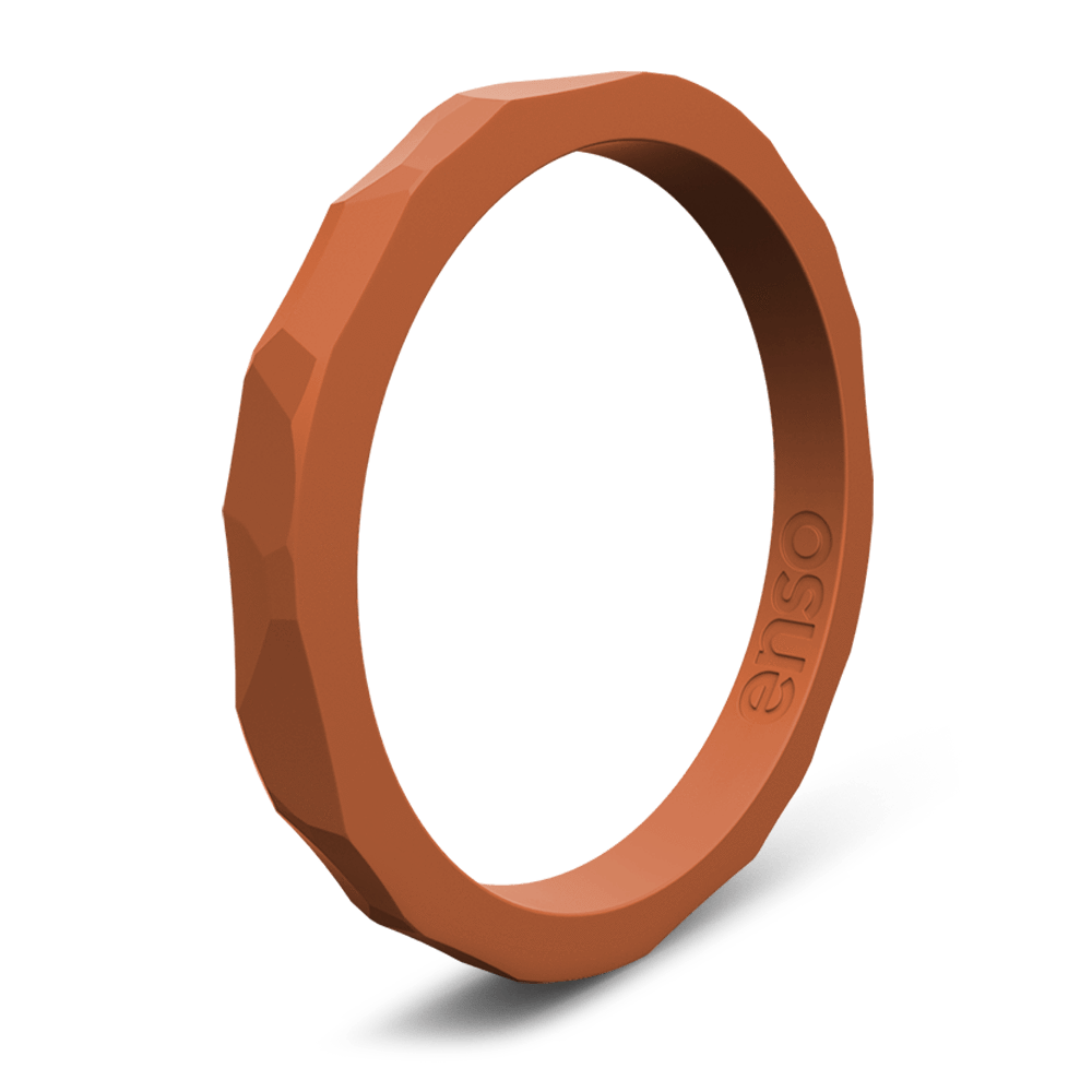 Hammered Stackable Silicone Ring Burnt Orange