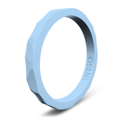 Hammered Stackable Silicone Ring Carolina Blue