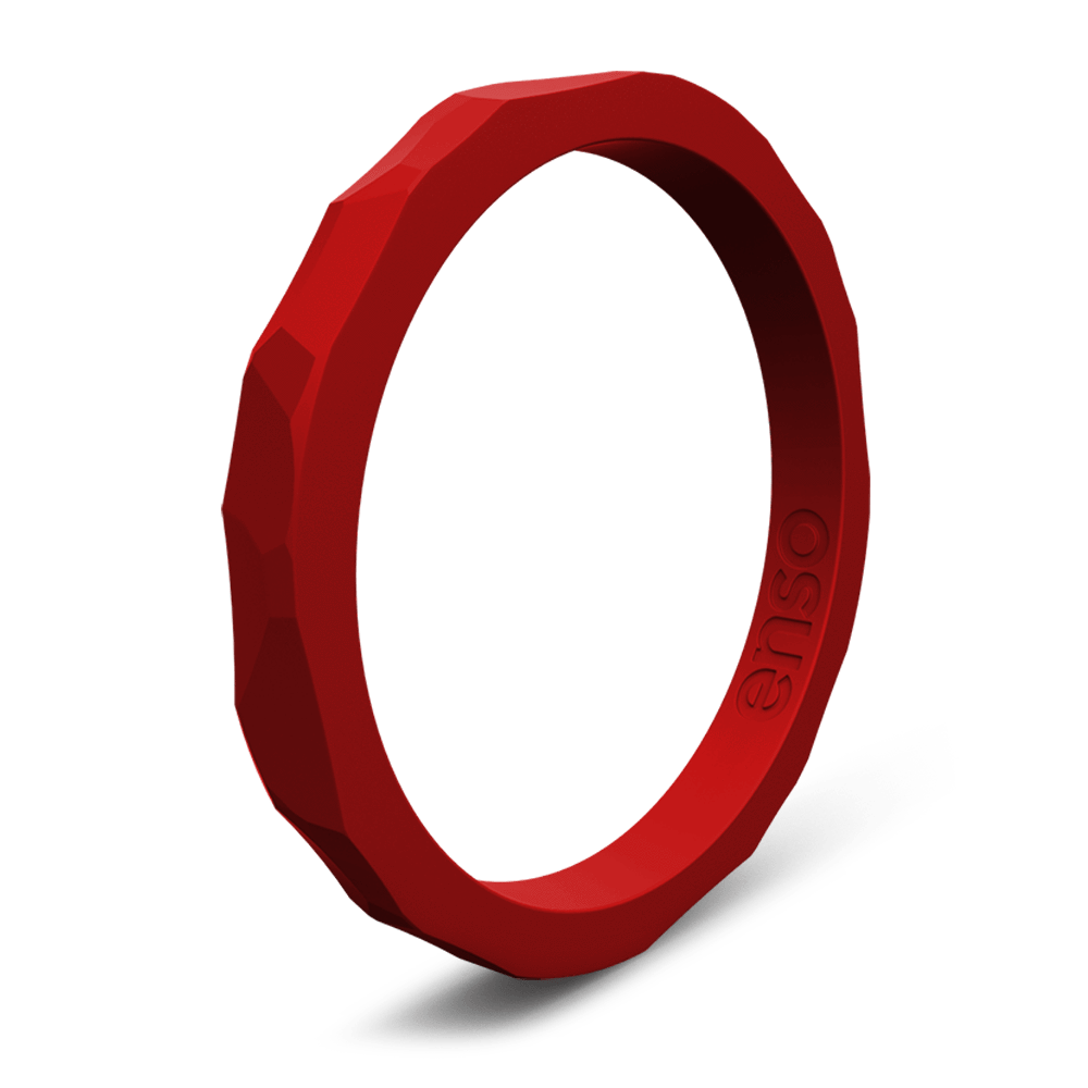 Hammered Stackable Silicone Ring Crimson