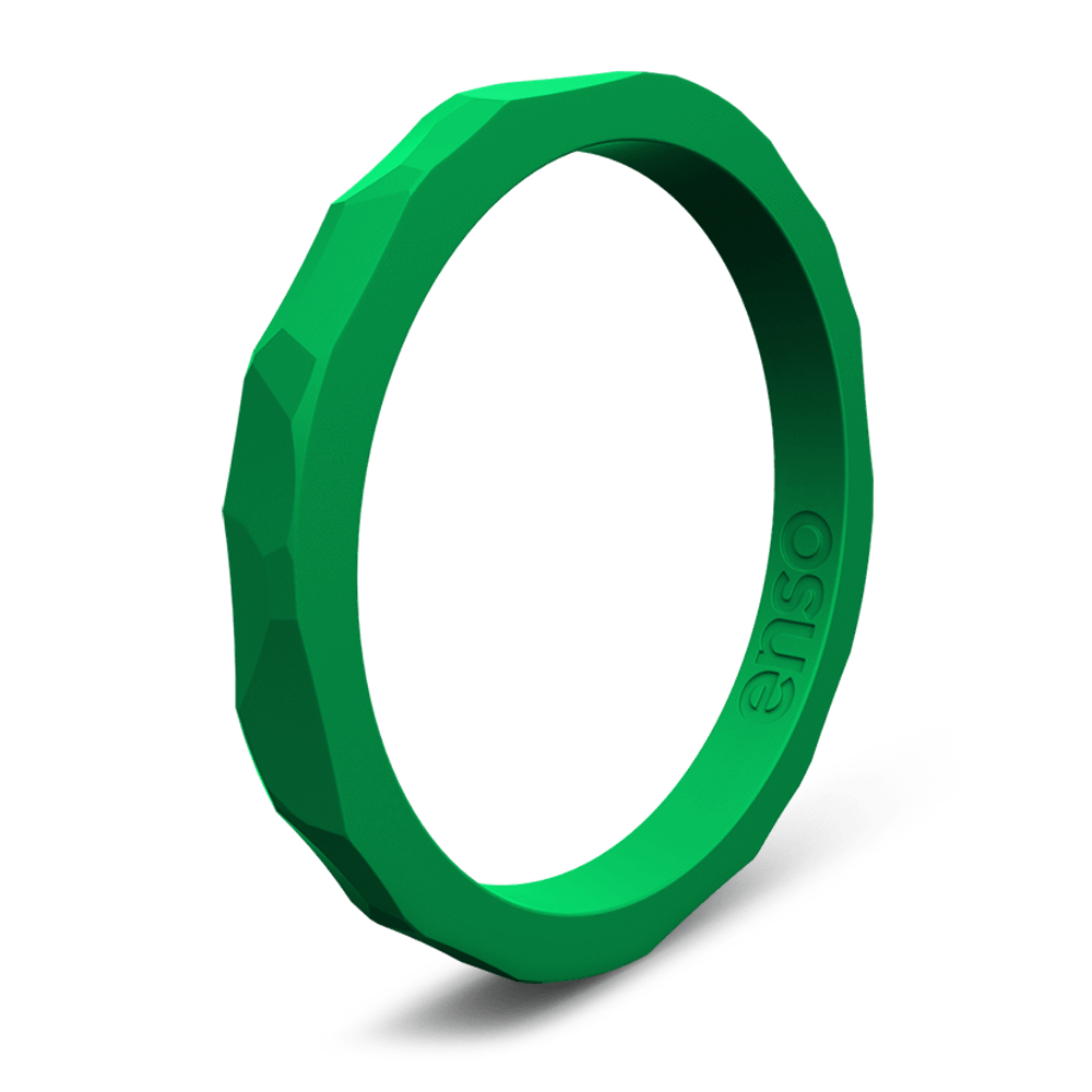 Hammered Stackable Silicone Ring Jade
