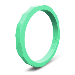 Hammered Stackable Silicone Ring Seafoam