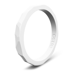 Hammered Stackable Silicone Ring White