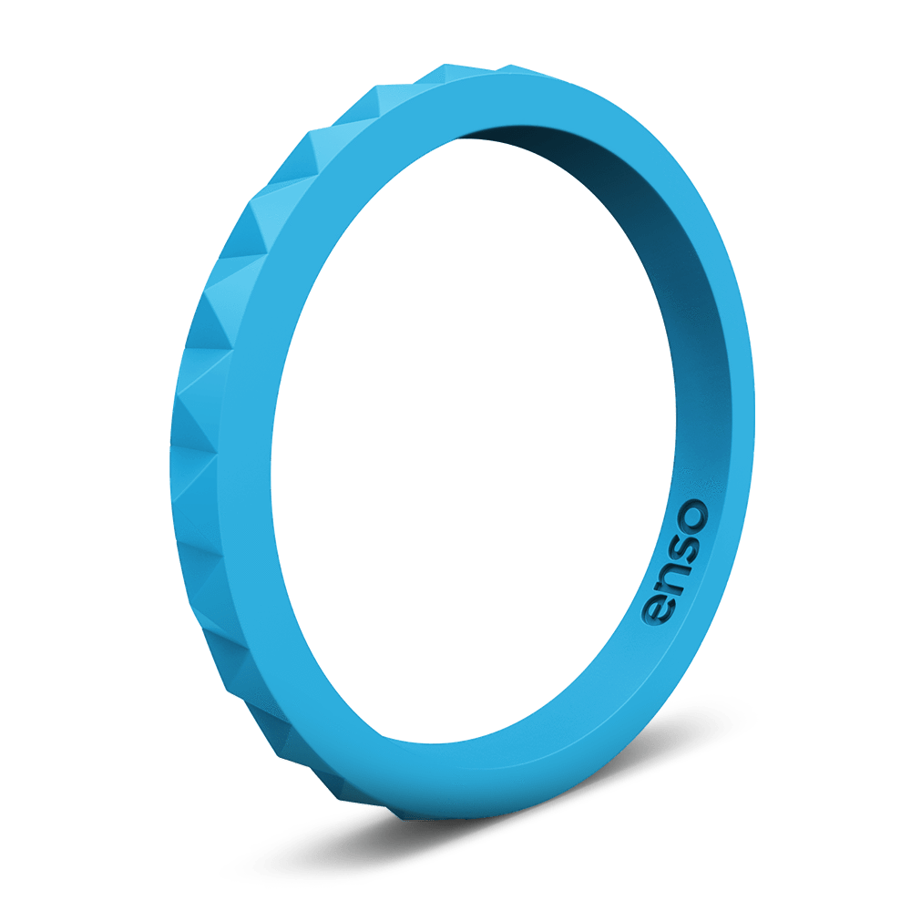 Pyramid Stackable Silicone Ring Azure Blue