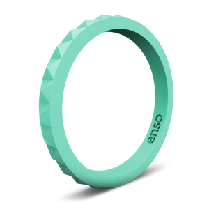 Pyramid Stackable Silicone Ring Mint Green