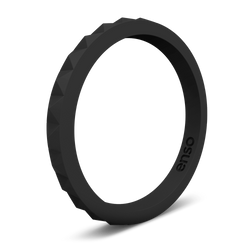 Pyramid Stackable Silicone Ring Obsidian