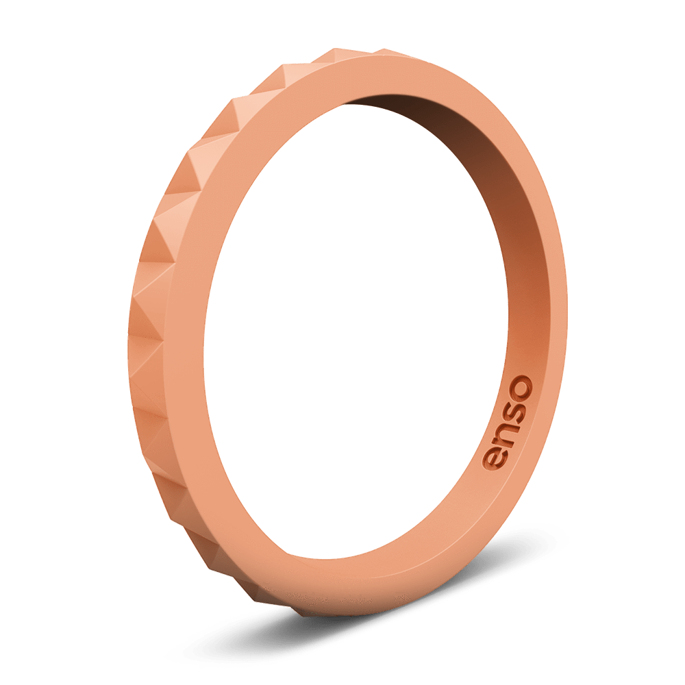 Pyramid Stackable Silicone Ring Peach
