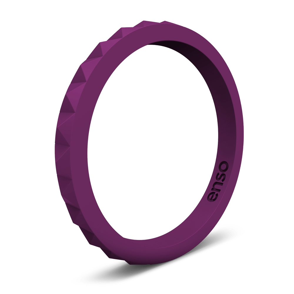 Pyramid Stackable Silicone Ring Plum