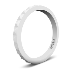 Pyramid Stackable Silicone Ring White
