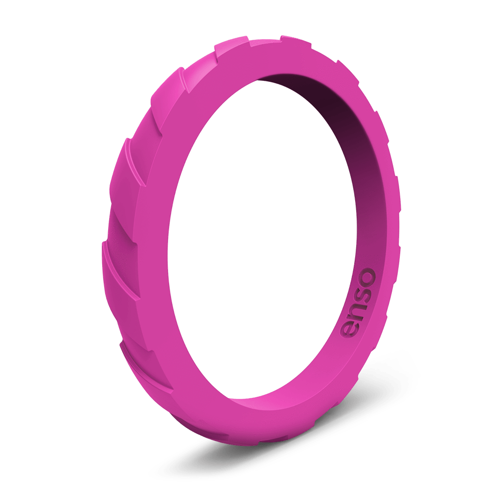 Treaded Stackable Silicone Ring Fuschia