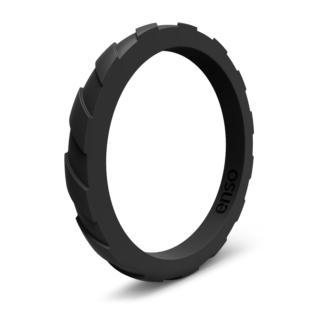 Treaded Stackable Silicone Ring Obsidian