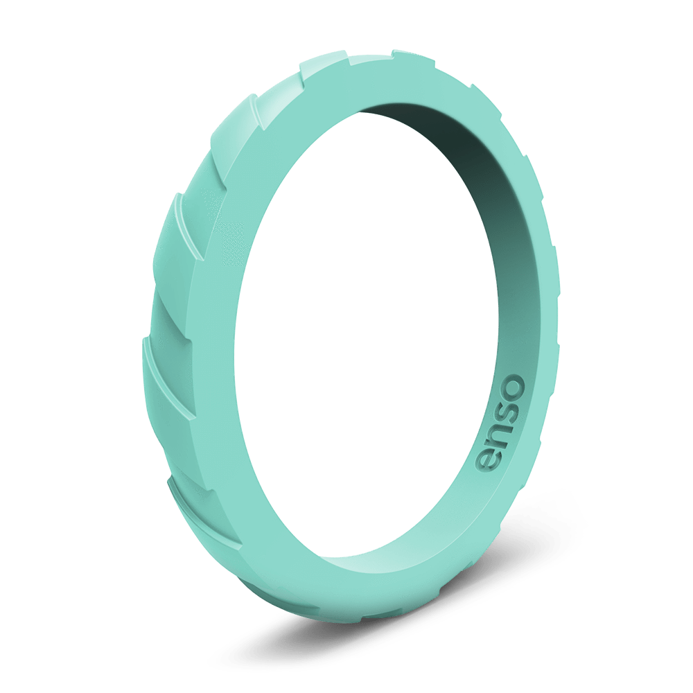 Treaded Stackable Silicone Ring Turquoise