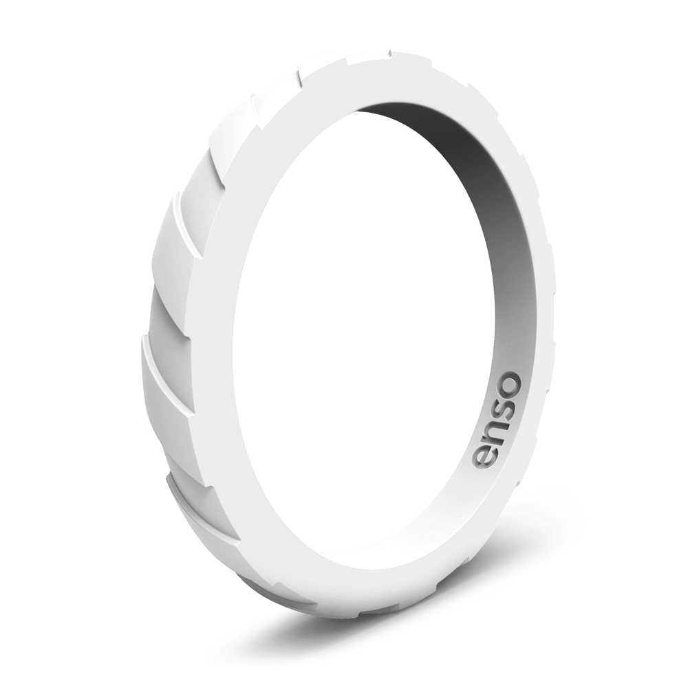 Treaded Stackable Silicone Ring White