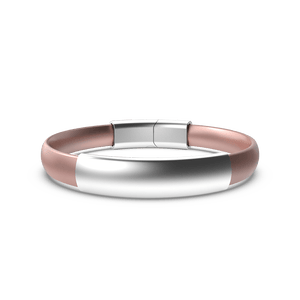 MOD Silicone Bracelet - Rose Gold Band w/Brushed Silver Sleeve & Clasp